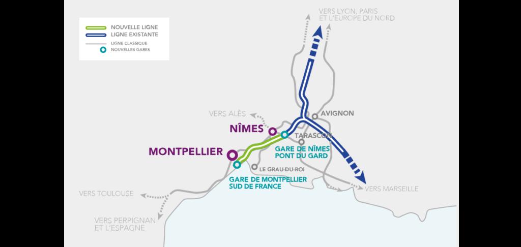 Carte de la nouvelle ligne grande vitesse